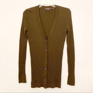 VINCE 100% CASHMERE RIBBED CARDIGAN SWEATER
